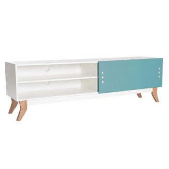 Rack Renoir Com Porta De Correr 180 Cm Branco E Azul Aghatabranco E Azul Aghata