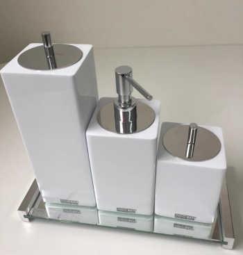 Conjunto De Potes Quadrados 3 Peças Branco Com Tampa Cromada - Resimetal