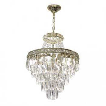 Lustre Cristal 9xe27 Florença Dourado 140140005 Startec