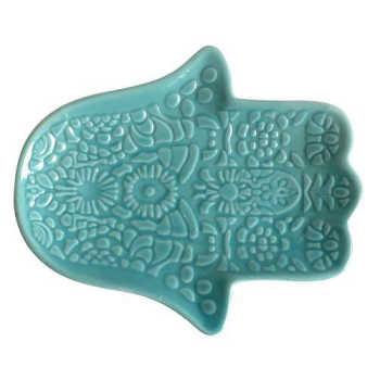 Prato Decorativo Azul Hamsa Hand 11,8cm