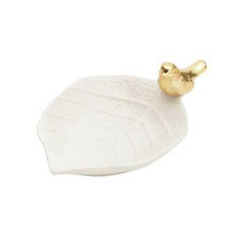 Folha Decorativa Branca Com Pássaro Dourado 13,6x1 - Lyor