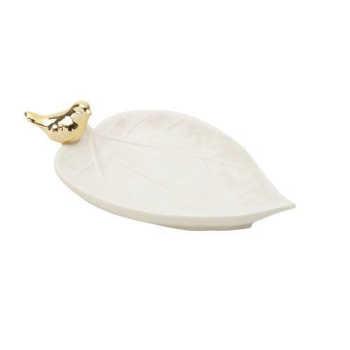 Folha De Dolomita Branca Pássaro Dourado 18x11cm - Lyor