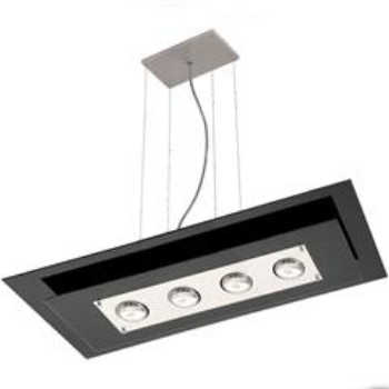 Pendente Em Vidro Para 4 Lâmpadas Retangular Spacial Preto