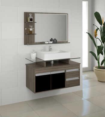Conjunto Style Suspenso - 80cm (balcão+espelheira+cuba)