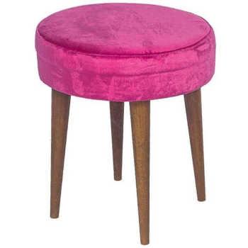 Puff Banqueta Alta Suede Pink Pés Palito - Lymdecor