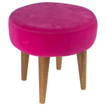 Puff Banqueta Baixa Suede Pink Pés Palito - Lymdecor