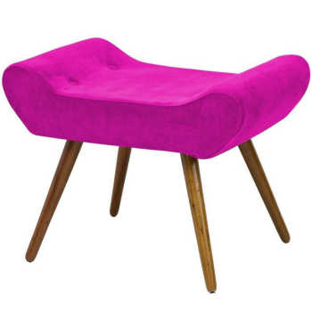 Puff Alice Banqueta Suede Pink Pés Palito - Lymdecor