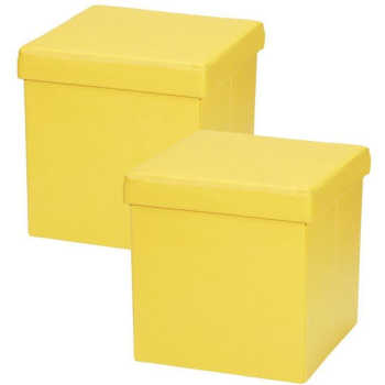 Kit 02 Puffs Baú Desmontável Para Sala Quarto Corino Amarelo 38x38 - Lymdecor
