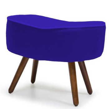 Puff Banqueta Decorativa Para Sala De Estar Kora Veludo Azul B-170 - Lymdecor