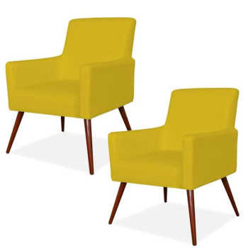 Kit 02 Poltronas Decorativas Para Sala De Estar E Recepção Maria Pés Palito Corino Amarelo - Lym Decor
