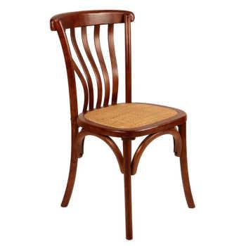 Cadeira Sofia De Madeira Natural Sem Braço E Assento De Rattan