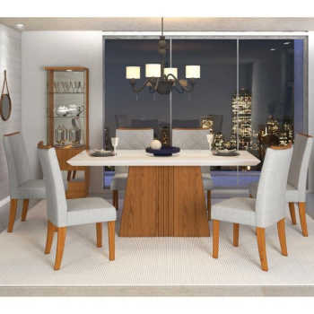 Sala De Jantar Mesa Itália 170cm E 6 Cadeiras Golden Terrara/off/claro - Dj Móveis