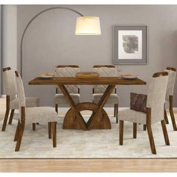Sala De Jantar Mesa Veneto Madeira E 6 Cadeiras Nevada Malbec/bege - Dj Móveis