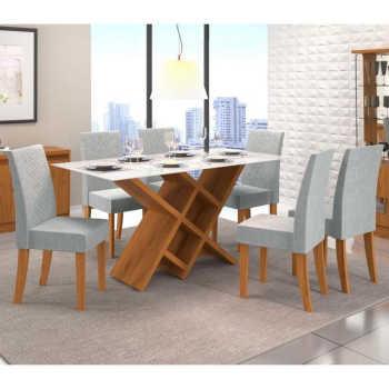 Sala De Jantar Mesa Duomo Vidro E 6 Cadeiras Olimpia Carvalho/branco/claro - Dj Móveis