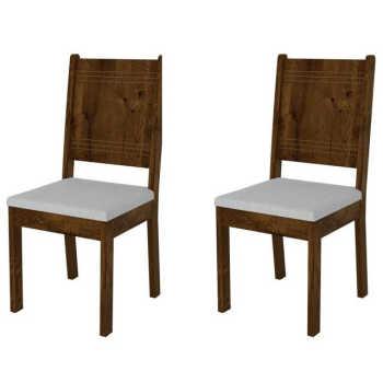 Kit 2 Cadeiras Para Sala De Jantar Romana Malbec/claro - Dj Móveis