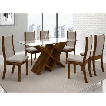 Sala De Jantar Mesa Duomo Vidro E 6 Cadeiras Malta Malbec/bege - Dj Móveis