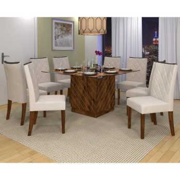 Sala De Jantar Mesa Vince 140cm E 8 Cadeiras Golden Malbec/bege - Dj Móveis