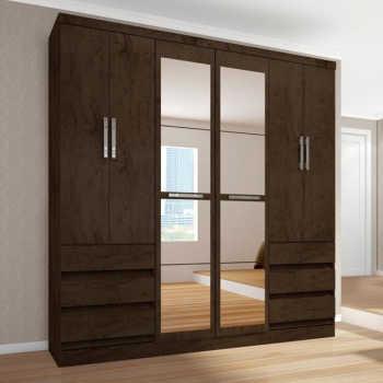 Guarda Roupa Casal 6 Portas Com Espelho 4177 Imbuia - Araplac