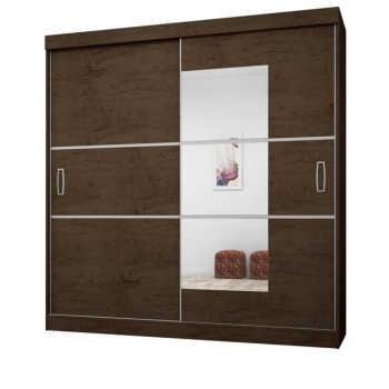 Guarda Roupa Casal 2 Portas De Correr Com Espelho 2040 Imbuia/avelã - Araplac