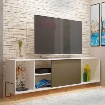 Rack Bancada Para Tv Até 50 Pol. Br33 1 Porta Branco/cacau - Brv