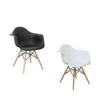 Kit 02 Cadeiras Charles Melbourne Com Base De Madeira Branco/preto - Facthus
