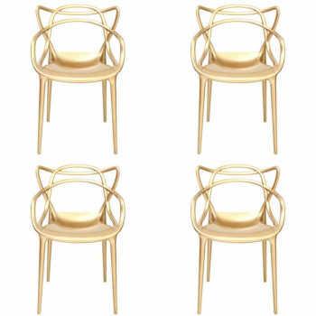 Conjunto 4 Cadeiras Masters Allegra Metalizada