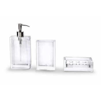 Conjunto Para Banheiro Platinum 3 Peças Transparente Harman