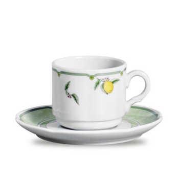 Xícaras De Chá Provenza Lemon Porcelana 6 Peças Branco, Verde E Amarelo Verbano