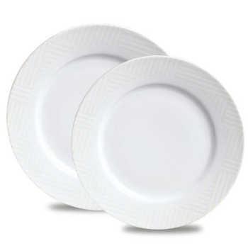 Conjunto De Pratos Raso E Sobremesa Maria Geo Nude Porcelana 12 Peças Branco E Nude Verbano