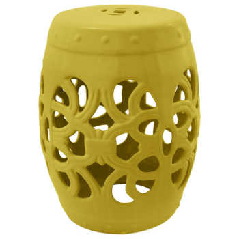 Garden Seat Em Cerâmica Amarelo Com Detalhes Vazados