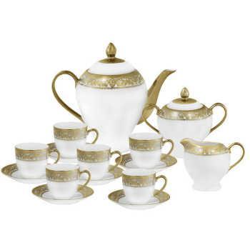Jogo De Chá  Em Porcelana Dourado 15 Pçs