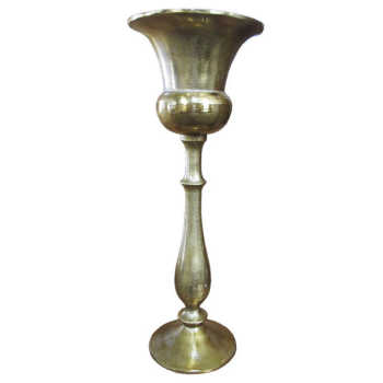 Vaso Dourado Grande De Alumínio Com Base Longa