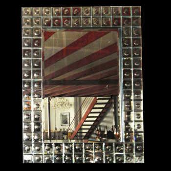 Espelho Quadrado Com Corte Bisotê Em Moldura Espelhada