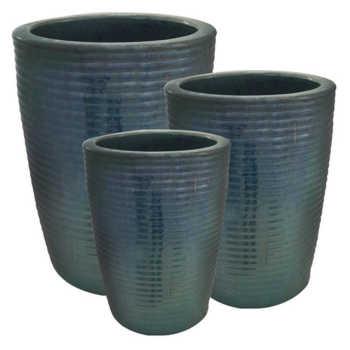 Potiche Em Cerâmica Azul 3 Peças