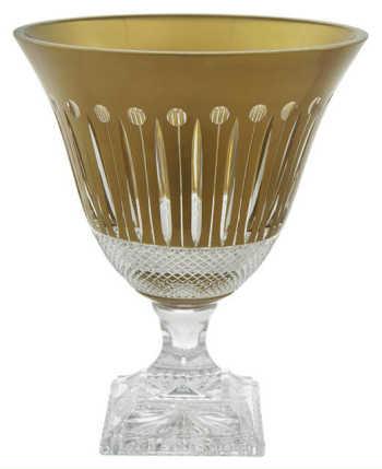 Vaso Em Cristal Tcheco Lapidado Clássico Dourado