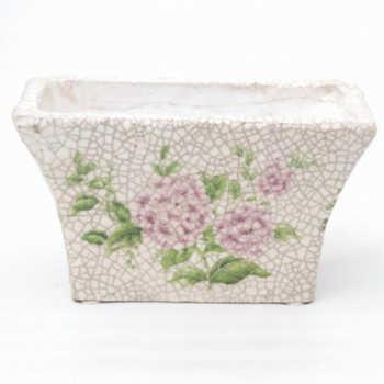 Cachepot Em Cerâmica C/ Desenho De Flores Modelo 06