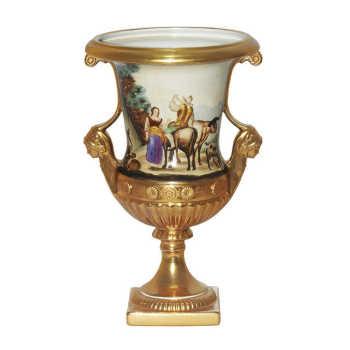 Ânfora Em Porcelana Dourada