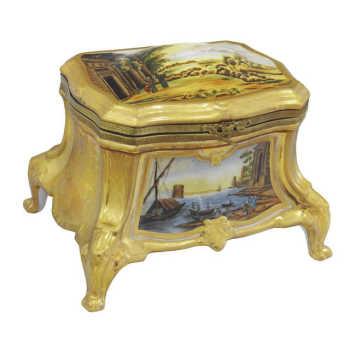 Caixa Em Porcelana Dourada