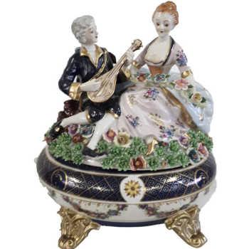 Caixa Em Porcelana Musico E Dama