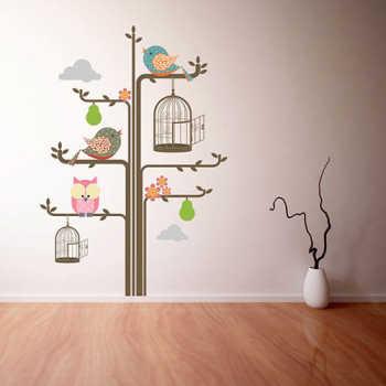 Adesivo Árvore Coruja E Pássaros - 438