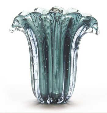 Vaso Em Cristal Murano Trouxinha Leque - Verde Pinheiro