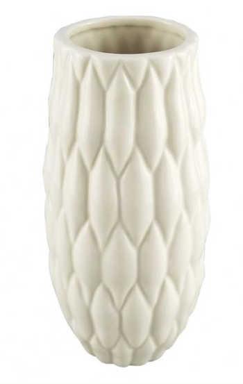 Vaso De Cerâmica Branca Texturizada