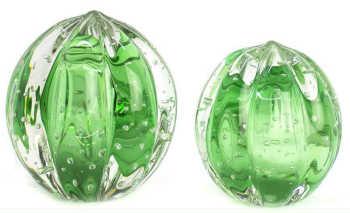 Par De Esferas Em Cristal Murano Senna P + M - Verde Cítrico
