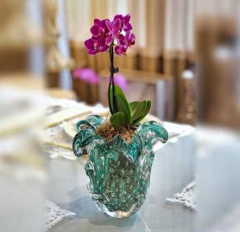 Vaso Em Murano Escamas C/ Ouro - Esmeralda