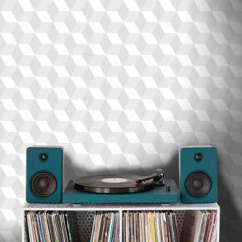 Papel De Parede Cubo 3d Branco