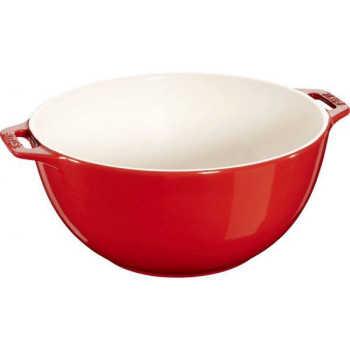 Bowl De Cerâmica Com Alça Staub Vermelho Cereja 25cm - 16237