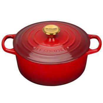 Panela De Ferro Redonda Le Creuset Golden Knob Vermelho 28cm - 24094